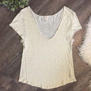Free People V neck linen blend top medium
